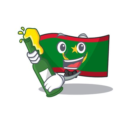 Cool flag mauritania with beer mascot cartoon style