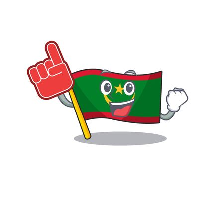 Foam finger flag mauritania on mascot cartoon style. Vector illustration