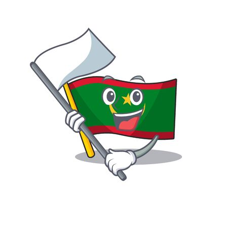 cute flag standing with flag mauritania cartoon character style. Vector illustration