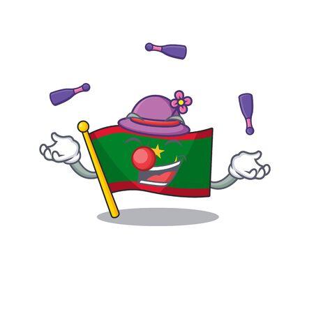 Super cool Juggling flag mauritania mascot cartoon style. Vector illustration Ilustração