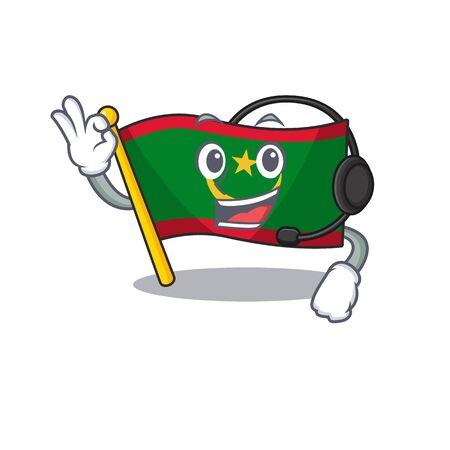 Flag mauritania cute cartoon character design with headphone. Vector illustration