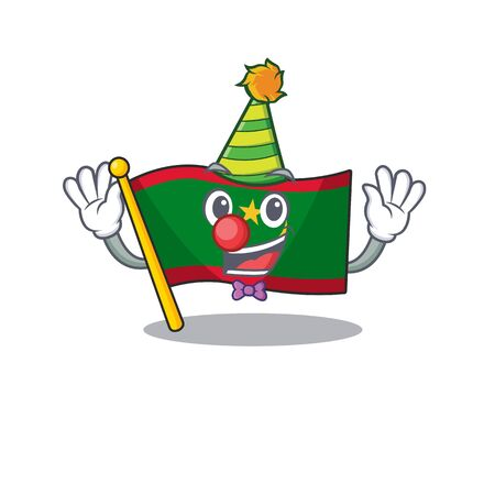 Cute Clown flag mauritania placed on cartoon character mascot design. Vector illustration