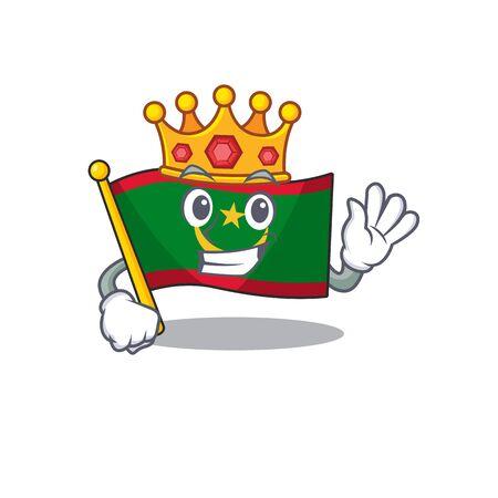 King flag mauritania on cartoon character mascot design. Vector illustration
