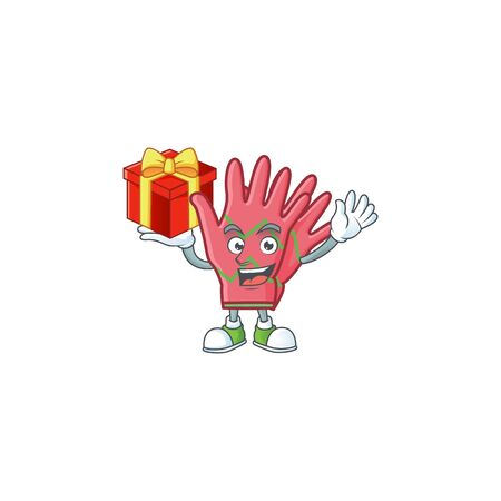 Mascot of christmas gloves character up a gift. Vector illustration Foto de archivo - 134670726