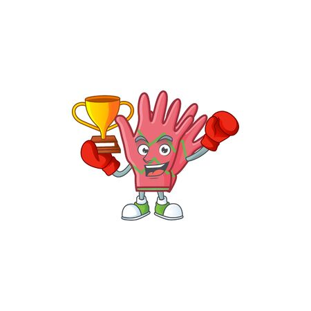Super cool Boxing winner christmas gloves in mascot cartoon style Archivio Fotografico - 134685094