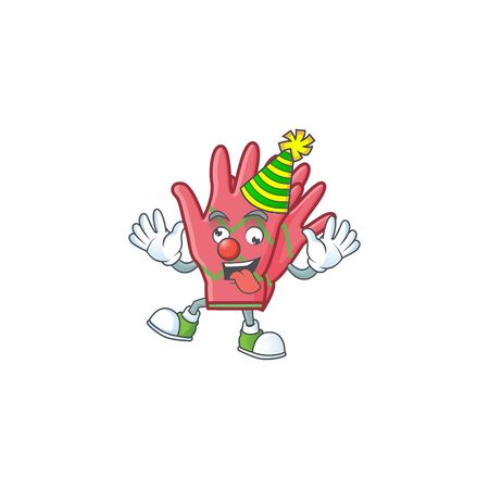 Cute Clown christmas gloves placed on cartoon character style design. Vector illustration
