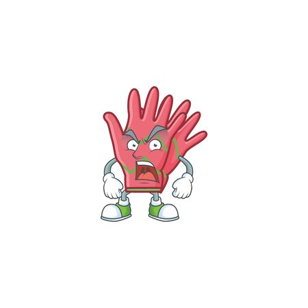 Mascot of angry christmas gloves cartoon character design Standard-Bild - 135136657