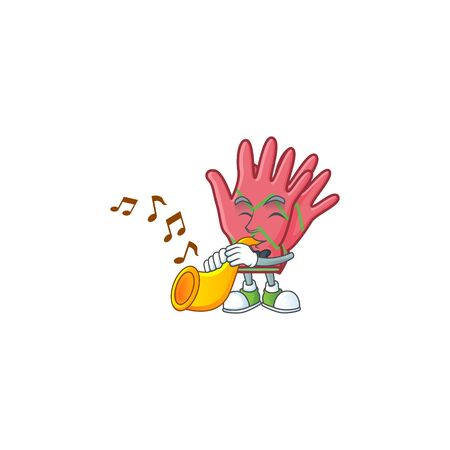 Super cool christmas gloves cartoon character performance with trumpet