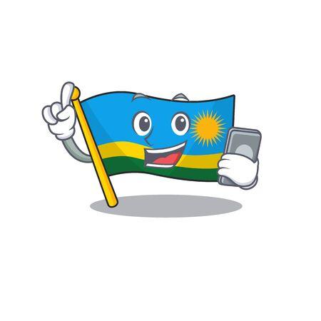mascot cartoon style of flag rwanda speaking with phone. Vector illustration