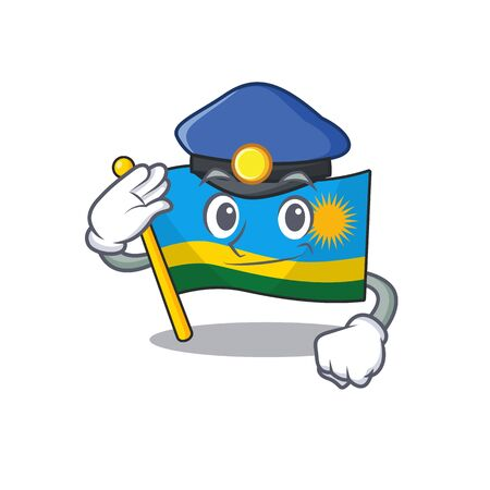Flag rwanda Cartoon character dressed as a Police officer. Vector illustration