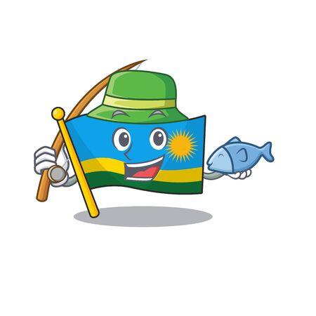 Cartoon character of funny Fishing flag rwanda design. Vector illustration
