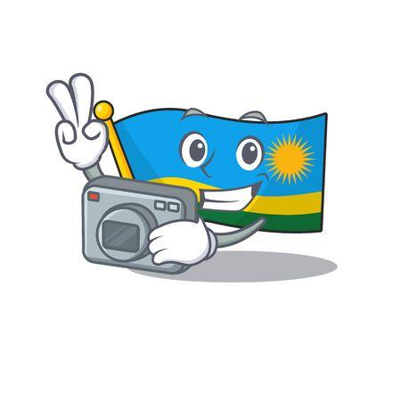 a professional Photographer flag rwanda cartoon character with a camera. Vector illustration