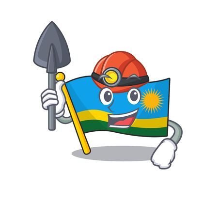 Cool Miner flag rwanda of cartoon mascot style. Vector illustration