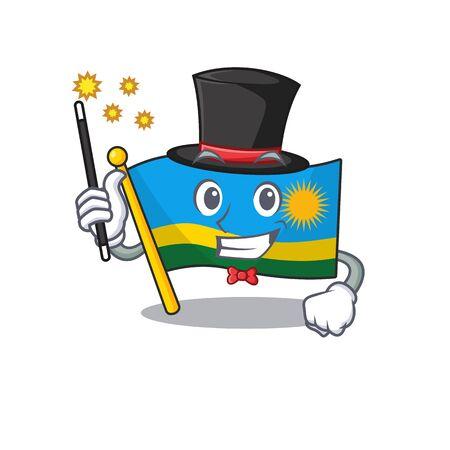 Cartoon character design of flag rwanda Magician style. Vector illustration Foto de archivo - 134674688