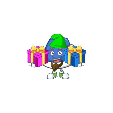 Super cute blue christmas hat cartoon design with Christmas gifts. Vector illustration Foto de archivo - 134711519