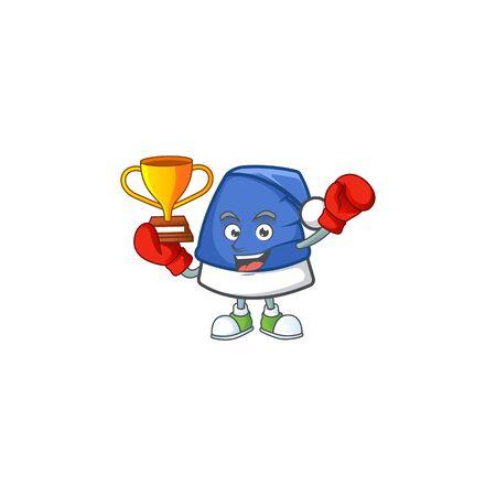 Super cool Boxing winner blue christmas hat in mascot cartoon style. Vector illustration Archivio Fotografico - 134711522