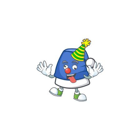 Cute Clown blue christmas hat placed on cartoon character style design. Vector illustration Ilustrace