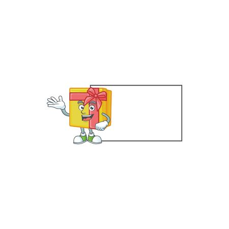 Yellow gift box with board cartoon character style