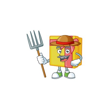 Farmer yellow gift box cartoon character with hat and tools. Vector illustration