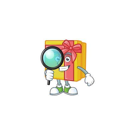 One eye yellow gift box Detective cartoon character style