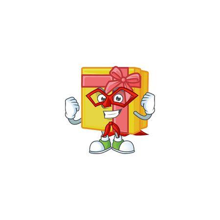 A cartoon of yellow gift box wearing costume of Super hero 向量圖像