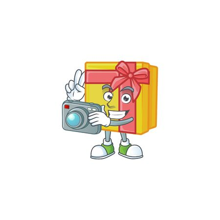 a professional Photographer yellow gift box cartoon character with a camera. Vector illustration