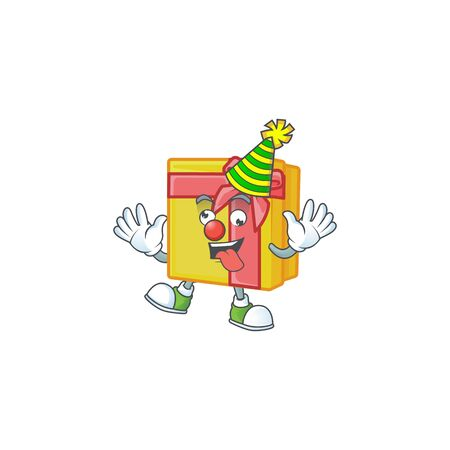 Cute Clown yellow gift box placed on cartoon character style design. Vector illustration