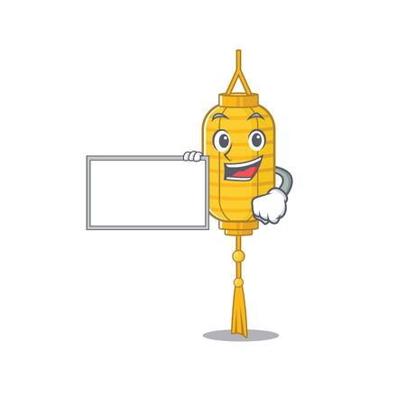 Lamp hanging with board cartoon Character design style. Vector illustration Stock Illustratie
