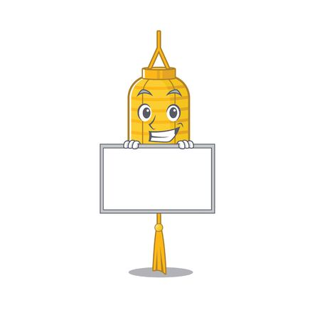Grinning with board lamp hanging cartoon character style. Vector illustration