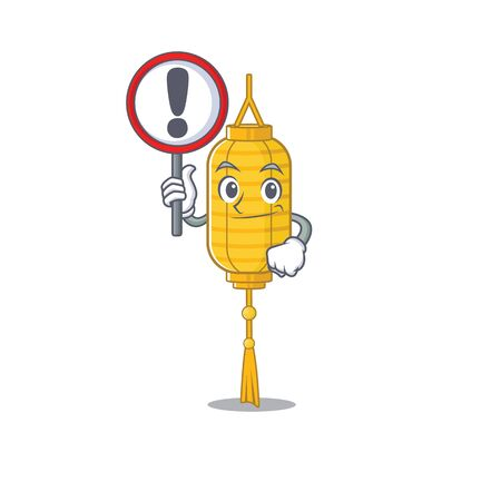 Cartoon style of lamp hanging with sign in his hand. Vector illustration Illustration