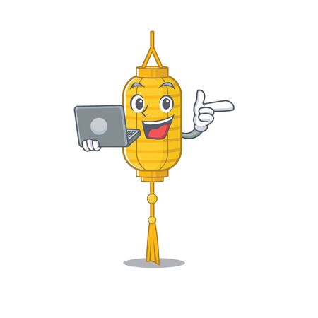 Happy smiling lamp hanging cartoon character working with laptop. Vector illustration