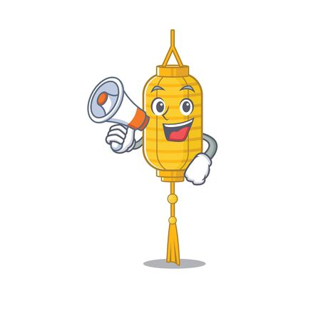 Funny cartoon style of lamp hanging with megaphone. Vector illustration