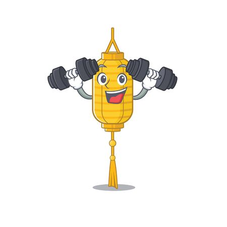 Fitness exercise lamp hanging cartoon character holding barbells. Vector illustration
