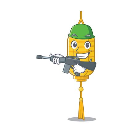 A cartoon style of lamp hanging Army with machine gun. Vector illustration