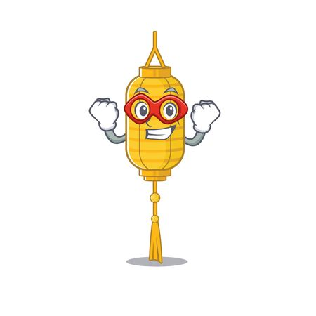 A cartoon of lamp hanging wearing costume of Super hero Illustration