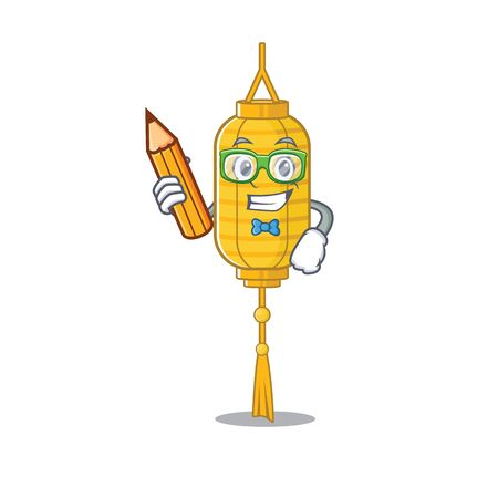 Cool smart Student lamp hanging character holding pencil. Vector illustration Stock Illustratie