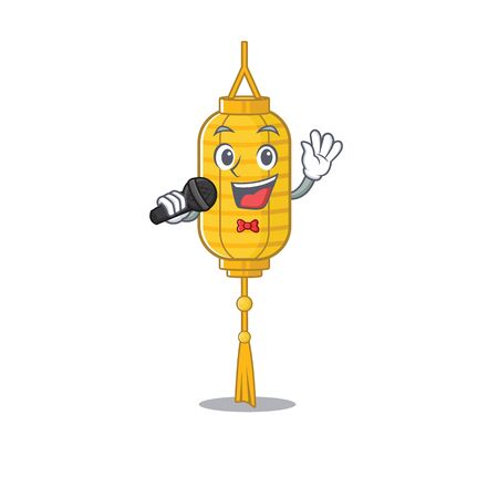 cartoon Singing lamp hanging while holding a microphone. Vector illustration