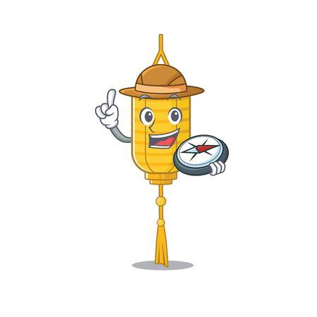 Explorer lamp hanging cartoon character holding a compass. Vector illustration