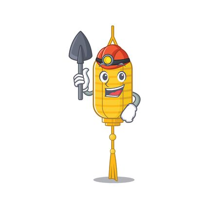 Cool Miner lamp hanging of cartoon mascot style. Vector illustration