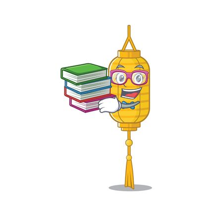 Student with book lamp hanging mascot cartoon character style. Vector illustration