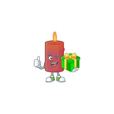 cartoon character of happy red candle with gift box. Vector illustration