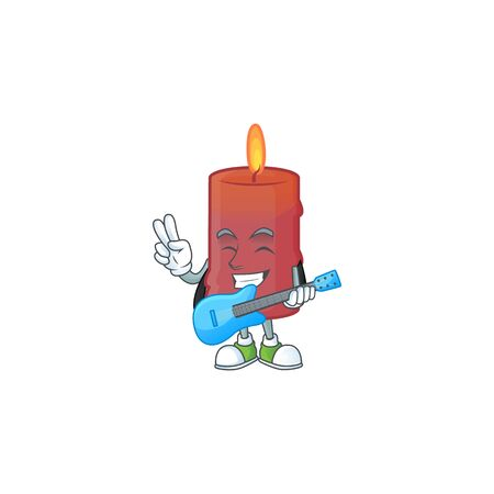 Super cool red candle cartoon character performance with guitar. Vector illustration Ilustracja