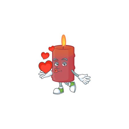 With heart red candle cartoon character mascot style. Vector illustration Ilustracja