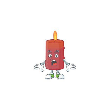 Surprised red candle face gesture on cartoon style. Vector illustration Ilustracja