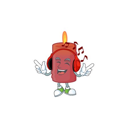 Listening music red candle mascot cartoon design style. Vector illustration