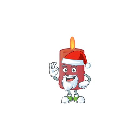 Red candle in Santa cartoon character design. Vector illustration