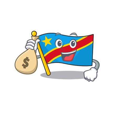 Cute flag democratic republic cartoon character smiley with money bag. Vector illustration