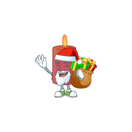 Santa with gift bag red candle Cartoon character design. Vector illustration