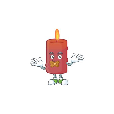 Red candle mascot cartoon character style making silent gesture Ilustracja