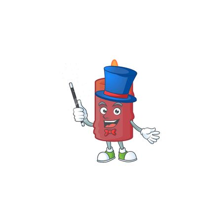 Cartoon character of red candle Magician style. Vector illustration Ilustracja